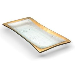 GLOBAL AMICI Leonardo Glass rectangle platter with gold rim