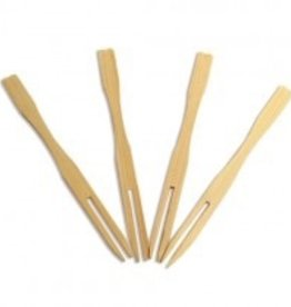 "UNIQUE MAUFACTURING UNIQUE 3.5"" Bamboo Fork Pick 100pcs in a bag"