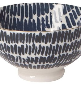 "NOW DESIGNS Now design Bowl Stamped 4"" Shibori Dash navy blue & white"