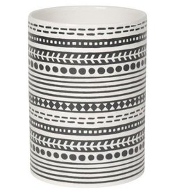 NOW DESIGNS NOW DESGIN Utensil Crock Canyon White With Black Stripes Design