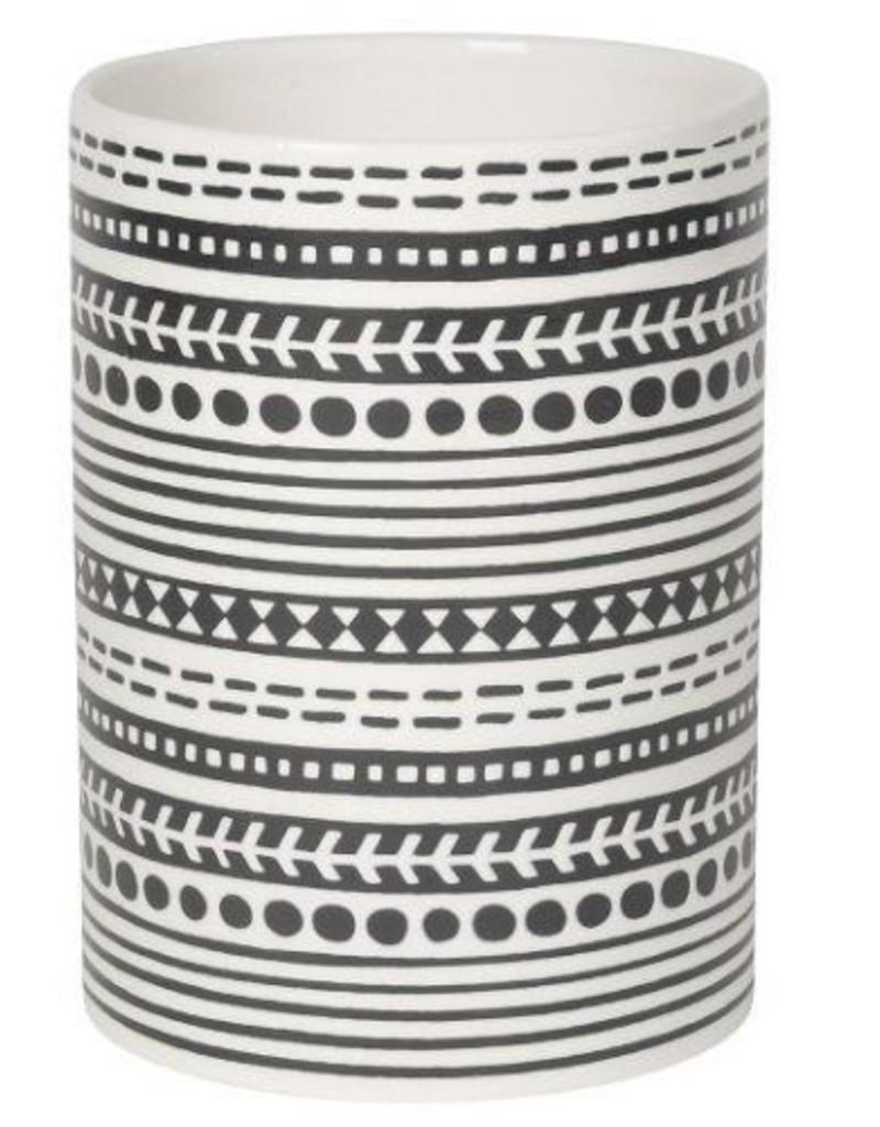NOW DESIGNS Now Design Utensil Crock Canyon White With Black Stripes Design