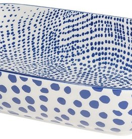 NOW DESIGNS NOW DESGIN Bakin Dish Rectanglar Large Lazurite White With Blue Spots