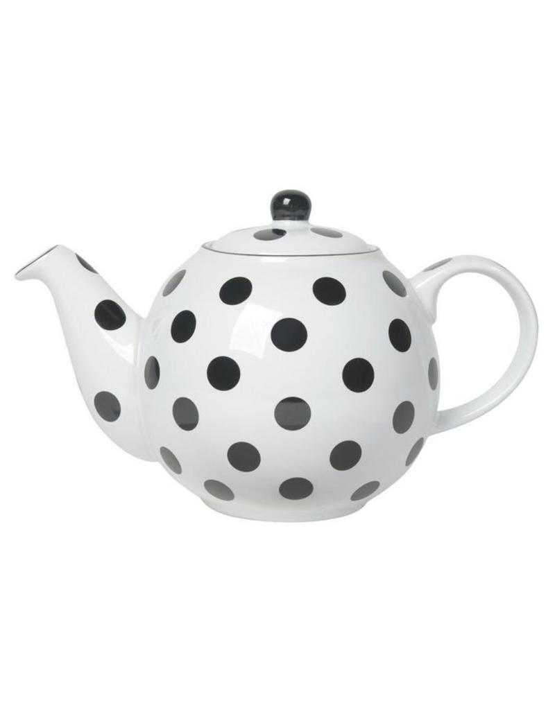 NOW DESIGNS NOW DESIGN Ceramic Teapot Globe 6 Cup White with Black Spots