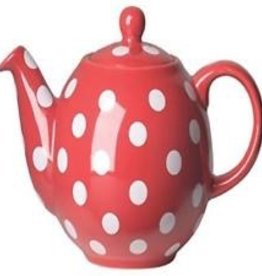 NOW DESIGNS NOW DESIGN Ceramic Teapot Globe 6 Cup Red with White Spots