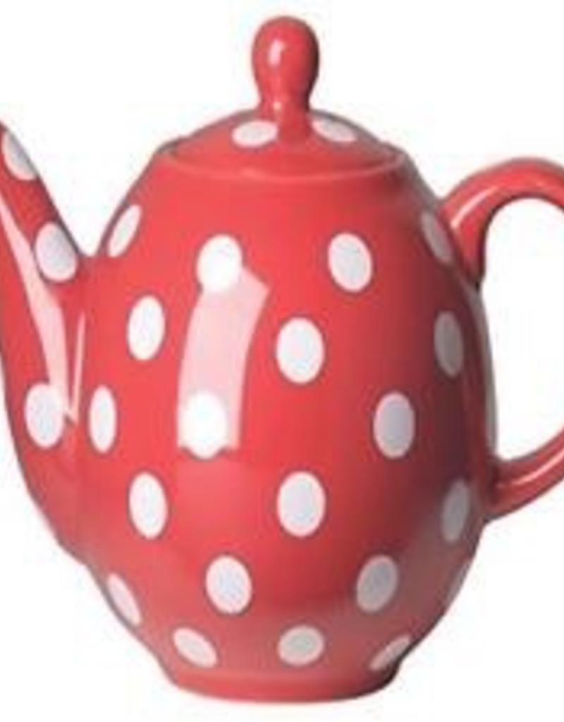 Now Design Ceramic Teapot Globe 6 Cup Red With White Spots