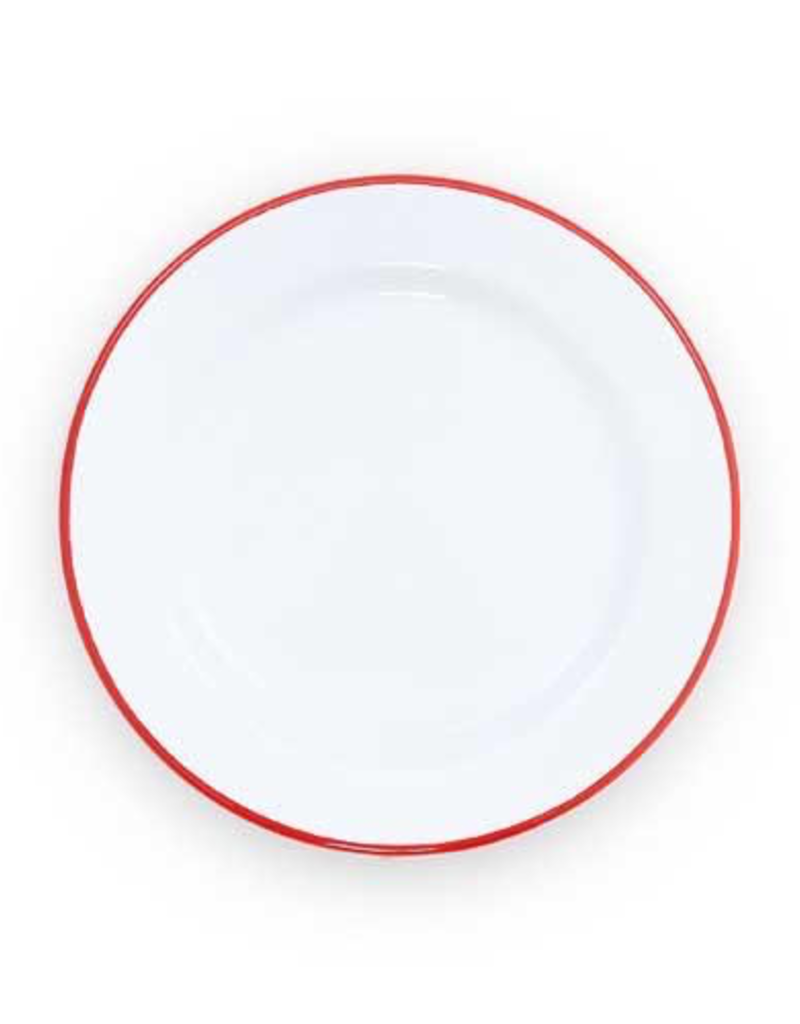"""CGS INT. CGS 10.5"""" dinner Plate Solid White w Red rim"""