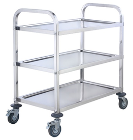 WINCO Winco 3 Tier s/s Trolley with bus cart Casters  L30 x W16 x 33H silver 330lbs capacity