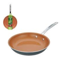 "ARAMCO IMPORTS Alpine Fry Pan Aluminum 9.5"" Copper Ceramic Coating Hard Anodized Painting S/S Handle"