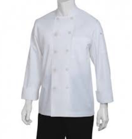 Chef Works Chef Works Le Mans Basic  long sleeve Chef Coat Large 65% Poly/35% Cotton white