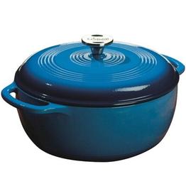 "LODGE Lodge Color Enamel Dutch Oven, 7.5 Qt. 12"" Dia 4-3/4"" Depth Carribbean (Gradated Blue)"