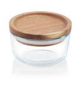 Corelle Brands Pyrex 2 Cup glass container with Wooden lid