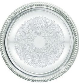 "WINCO Winco Round Chrome Tray 14"" metal"