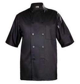 Chef Works Chef Works Black Chambery Basic short sleeeve Chef Coat Medium 65% Poly/35% Cotton