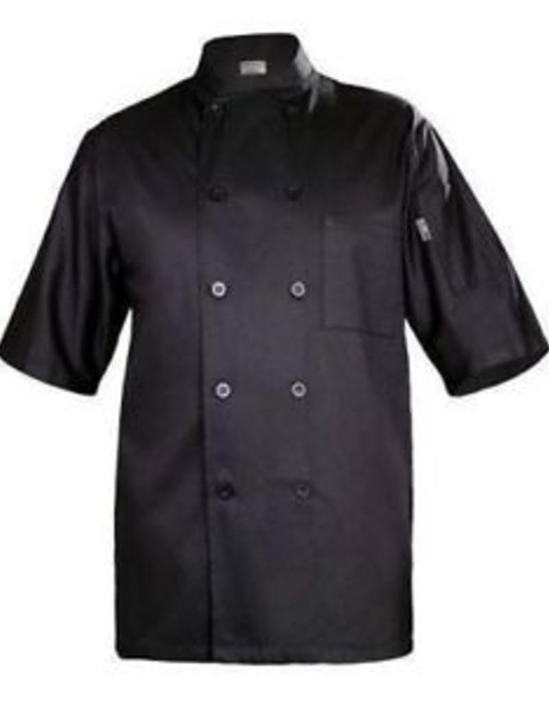 Chef Works Chef Works Black Chambery Basic short sleeeve Chef Coat Medium 65% Poly/35% Cotton