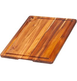 "Teak Haus TEAK Corner Hole and Juice Groove Rectangle Teakhaus Wood Board 18"" x 14"" x 0.75"""