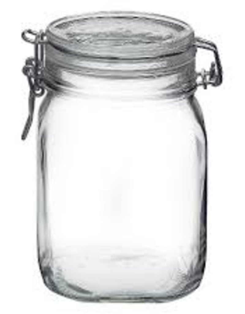 BORMIOLI ROCCO GLASS Bormioli Clear Fido Top Jar <br /> 1 L 33.75 oz clamp