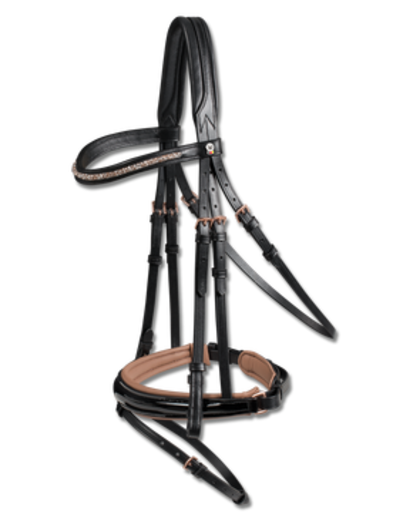 "WALDHAUSEN X-Line ""Rosewood"" Patent Dressage Bridle"