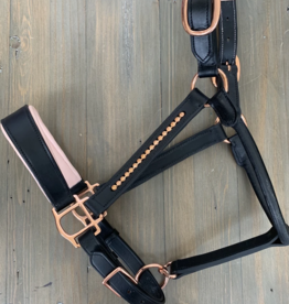 REBEL EQUESTRIAN ROSE GOLD & BLACK LEATHER HALTER