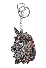 RHINESTONE UNICORN HEAD KEYCHAIN