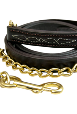 WALSH  FANCY STITCHED LEATHER LEAD WITH CHAIN