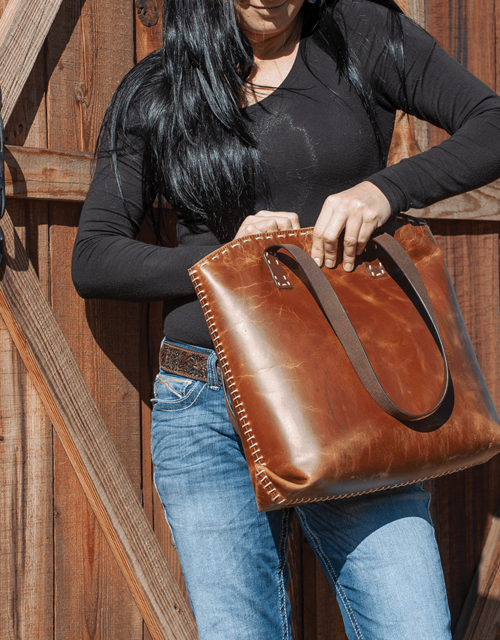 CASHEL DISTRESSED LEATHER TOTE BAG