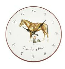 AT HOME IN THE COUNTRY TIME FOR A RIDE WALL CLOCK