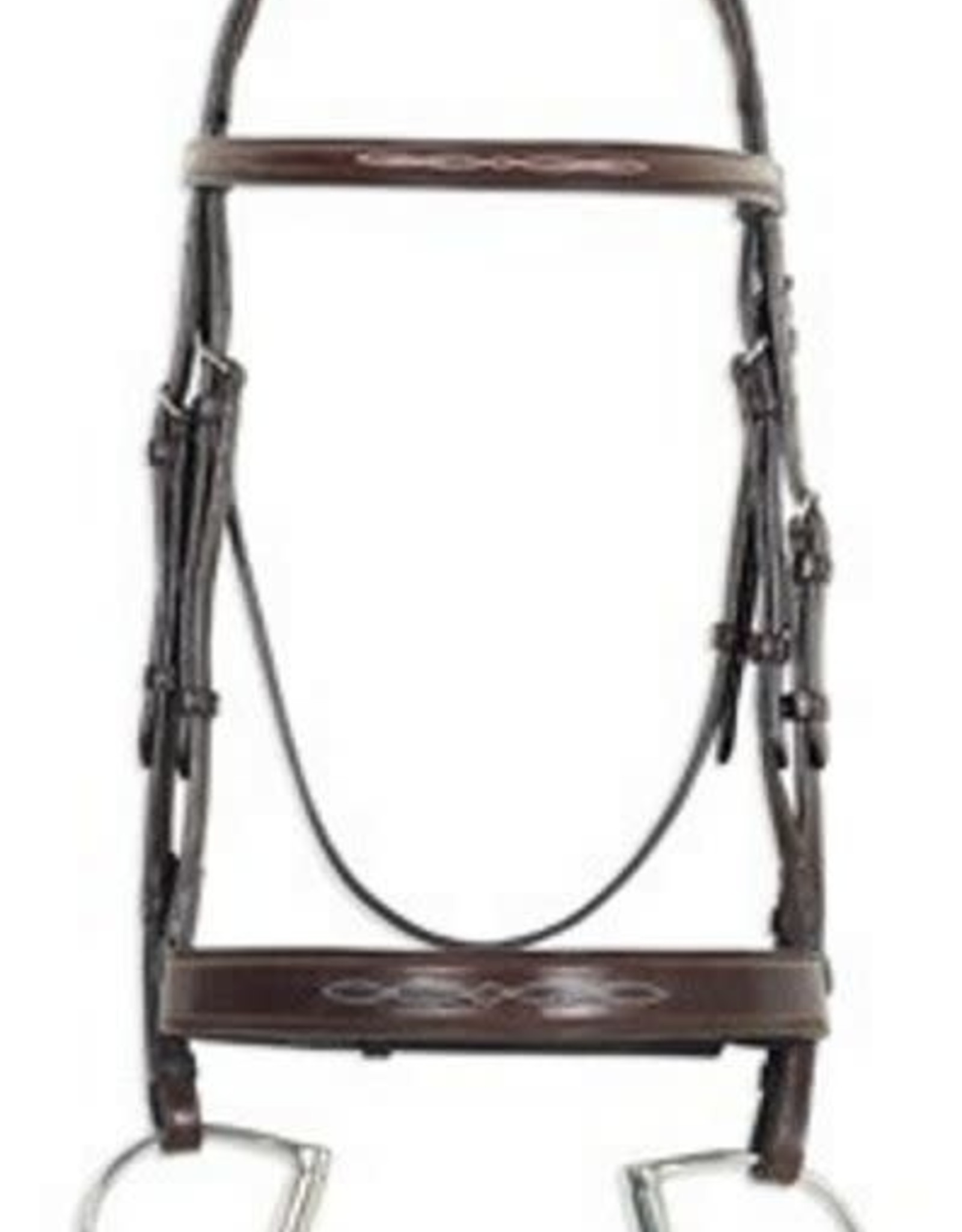 OVATION FANCY RAISED COMFORT CROWN WIDE NOSEBAND BRIDLE WITH FANCY RAISED LACED REINS