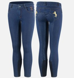 HORZE KID'S DENIM SILICON FULL SEAT BREECHES