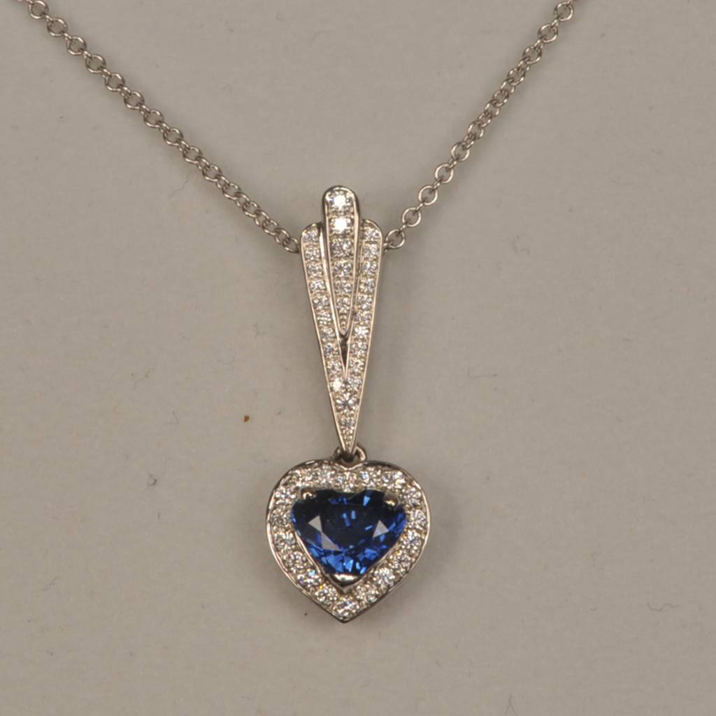 27644702729e99 Timeless Traditional Heart shaped blue sapphire and diamond pendant,  necklace, simple but stunning ...