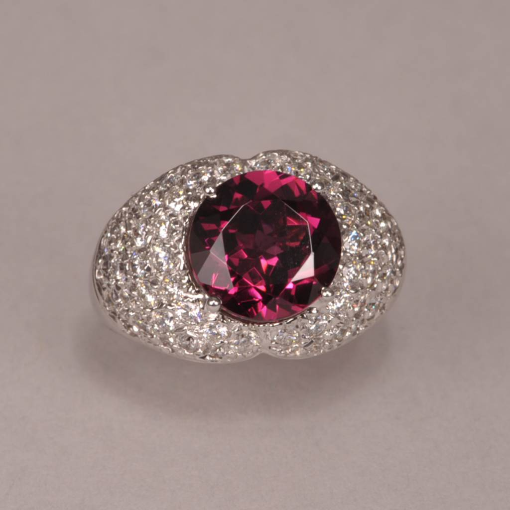 2bd760a35d45 Timeless Traditional Stunning rhodolite and diamond ring, cocktail ring  like no other ...
