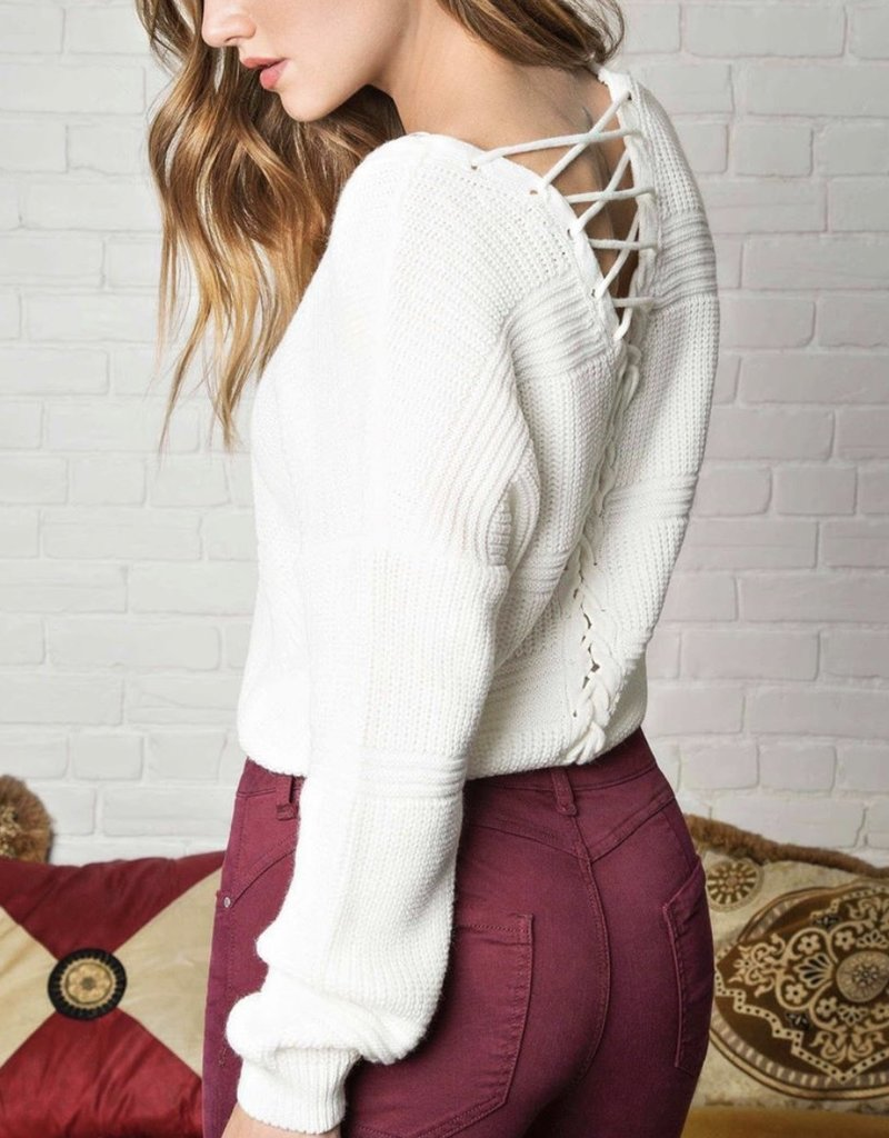 Numero Lace Up Sweater