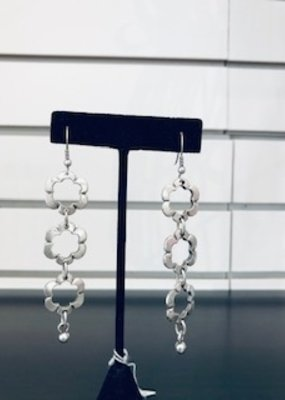 Misc Rhodium Flower Earring