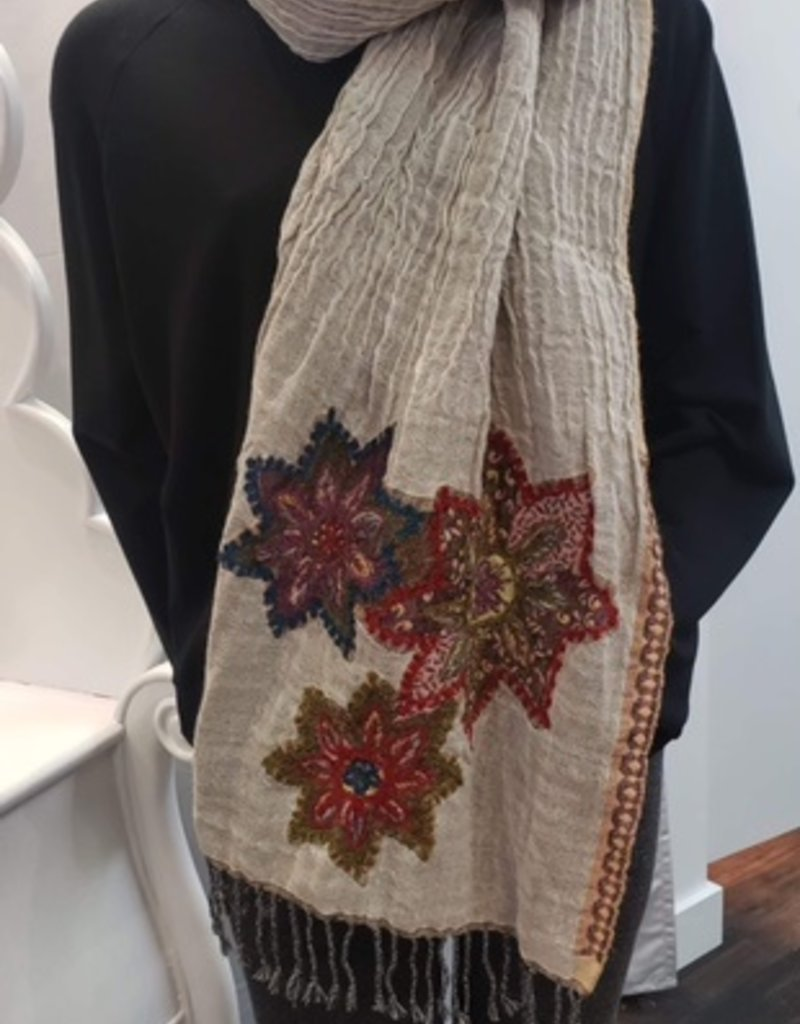 Fair Trade Wool Embroidered Reversable Scarf