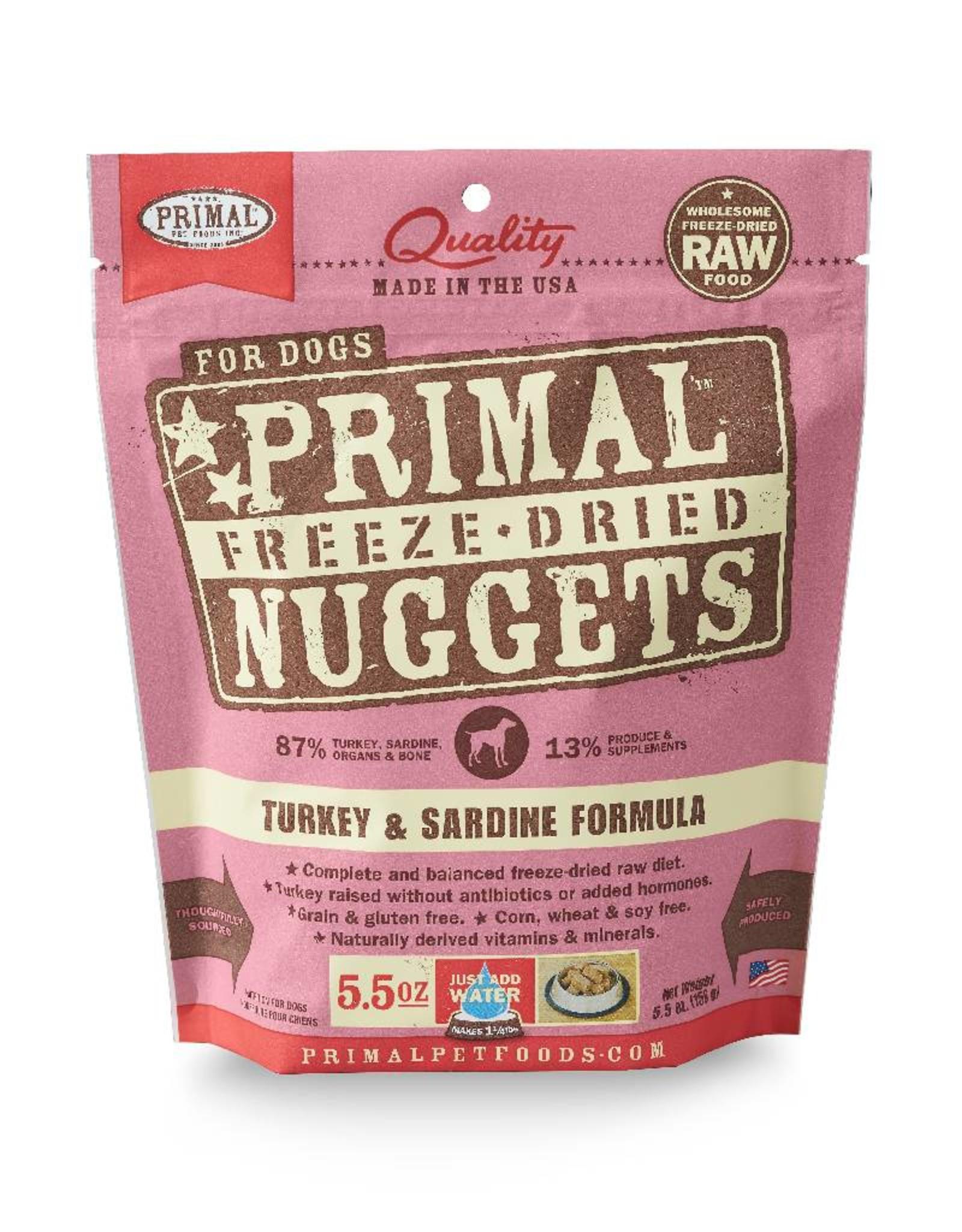 PRIMAL PET FOODS Primal | Freeze Dried Nuggets Canine Turkey & Sardine Formula