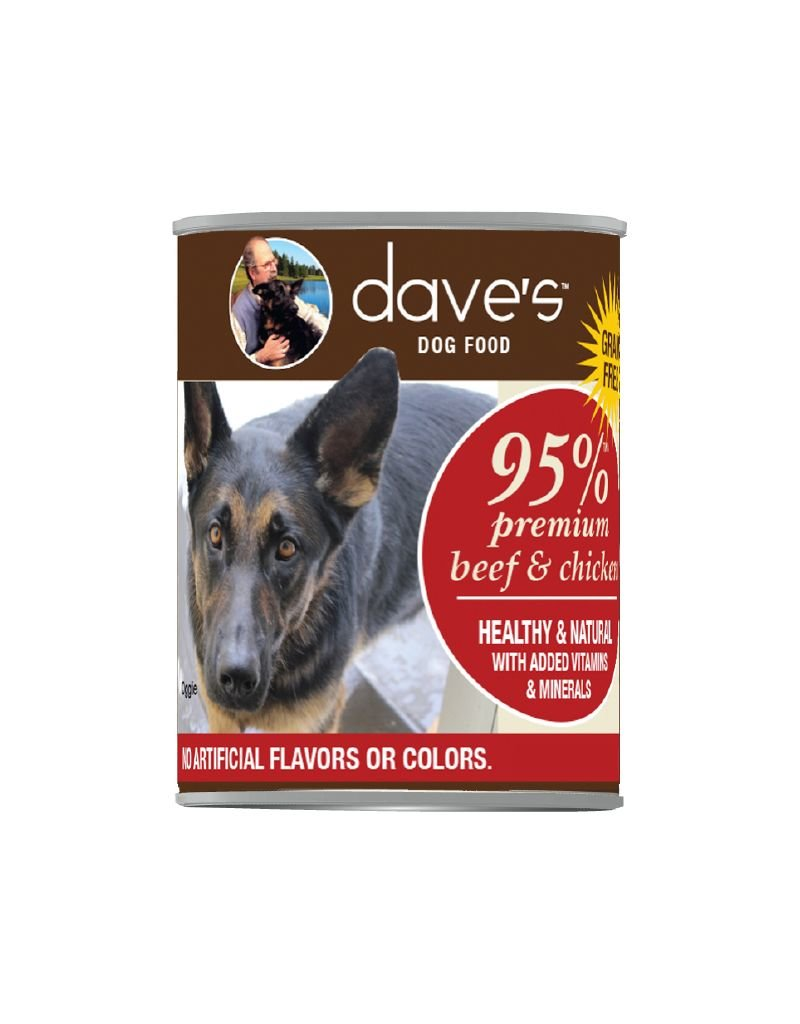 DAVE'S PET FOOD Dave's | 95% Premium Meats Canned Dog Food Beef & Chicken Recipe