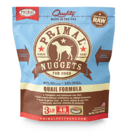 PRIMAL PET FOODS Primal | Raw Frozen Canine Quail Formula 3 lb Nuggets