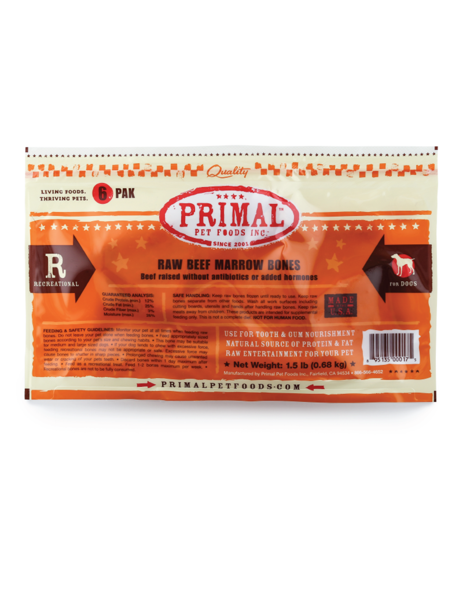 PRIMAL PET FOODS Primal | Dog Frozen Bone Beef Marrow