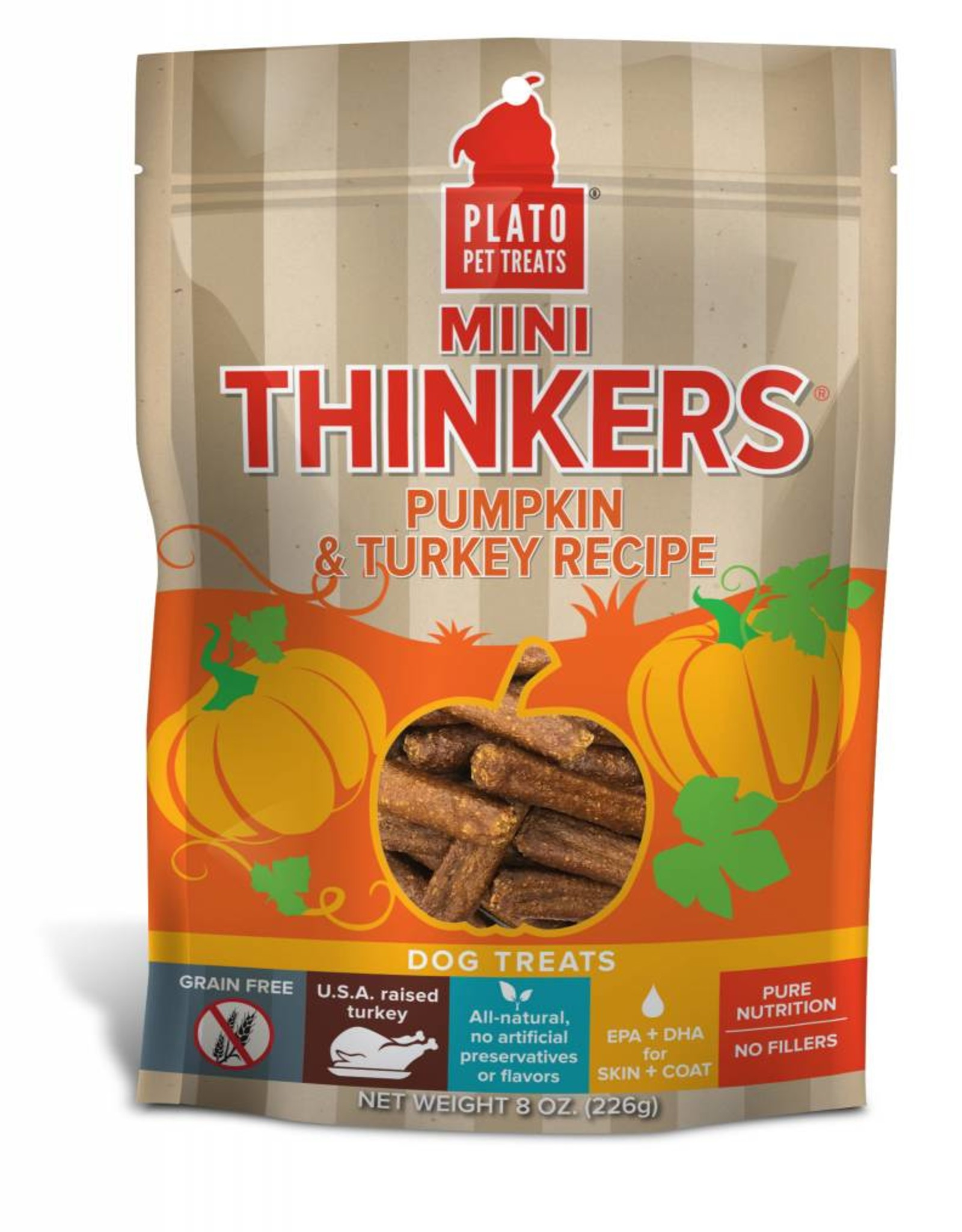 PLATO PET TREATS Plato | Mini Thinkers Pumpkin & Turkey Recipe 8 oz