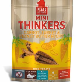 PLATO PET TREATS Plato | Mini Thinkers Carrot, Turkey & Peanut Butter 8 oz