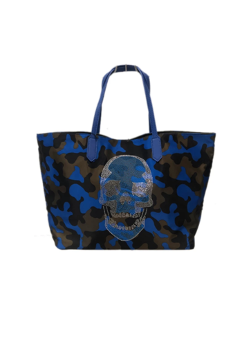 AHDORNED Camo Tote with Skull (BLUE)