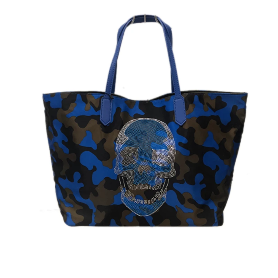 Camo Tote with Skull (BLUE)