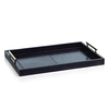 ZODAX Umbria Leather Tray with Gold Handles