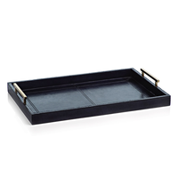 Umbria Leather Tray with Gold Handles