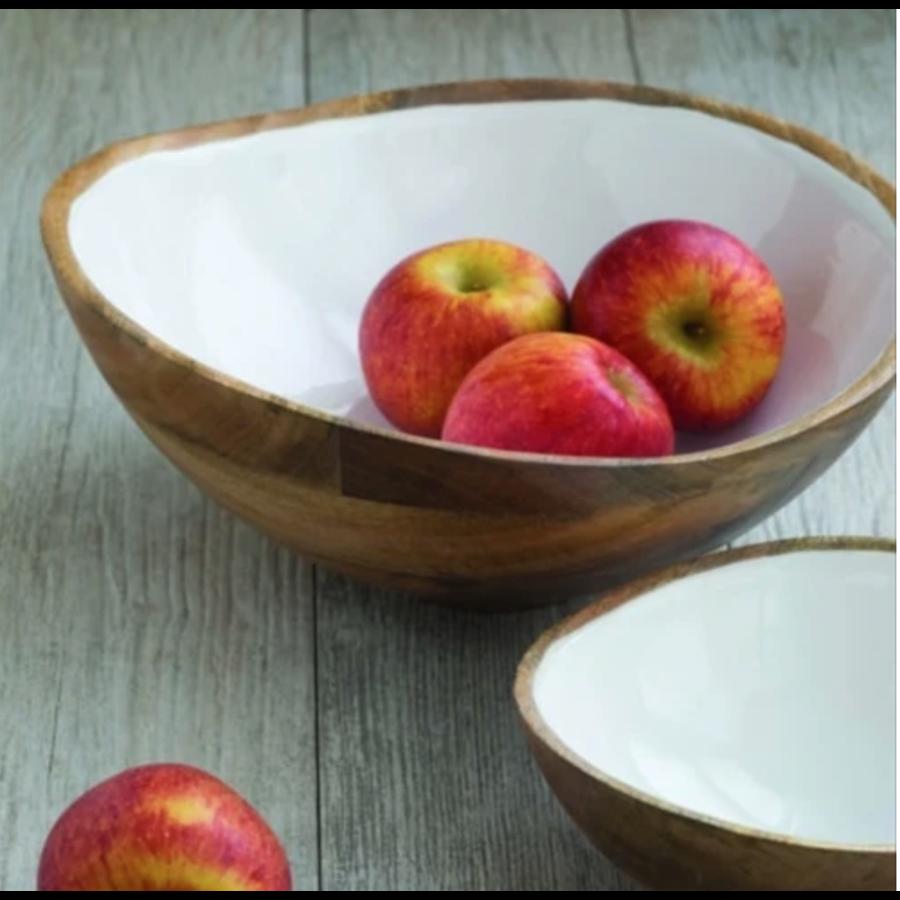 Mango Wood & White Enamel Bowl in Extra Large