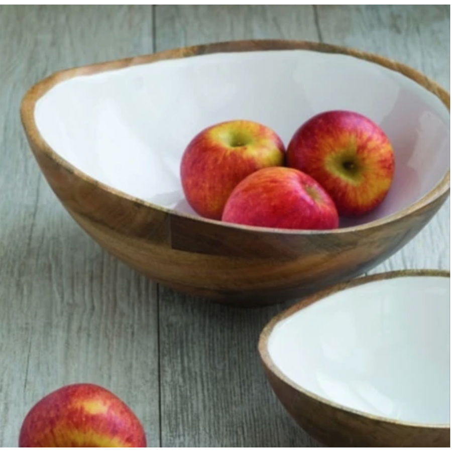 Mango Wood & White Enamel Bowl (Large)