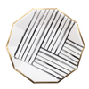 HARLOW & GREY Rebelle - Black and White Brush Strokes Paper Plates