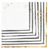 HARLOW & GREY Rebelle - Black and White Brush Strokes Lunch Paper Napkins