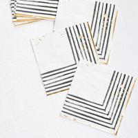 Rebelle - Black and White Brush Strokes Lunch Paper Napkins
