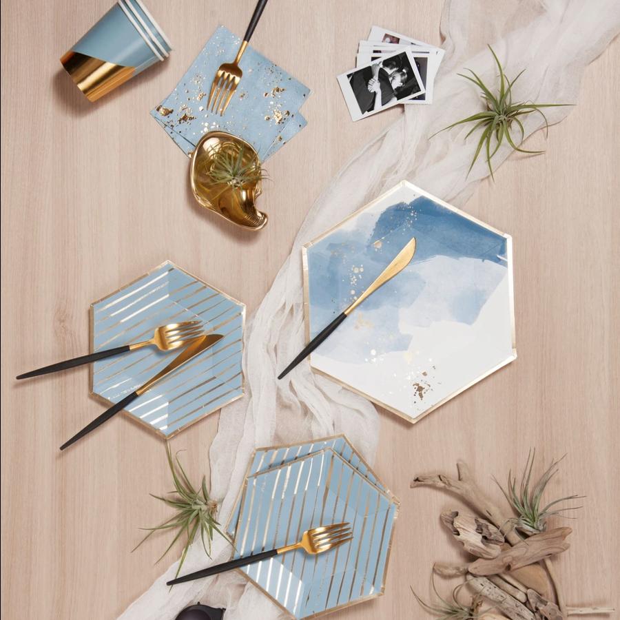 Malibu - Blue Watercolor Large Paper Plates
