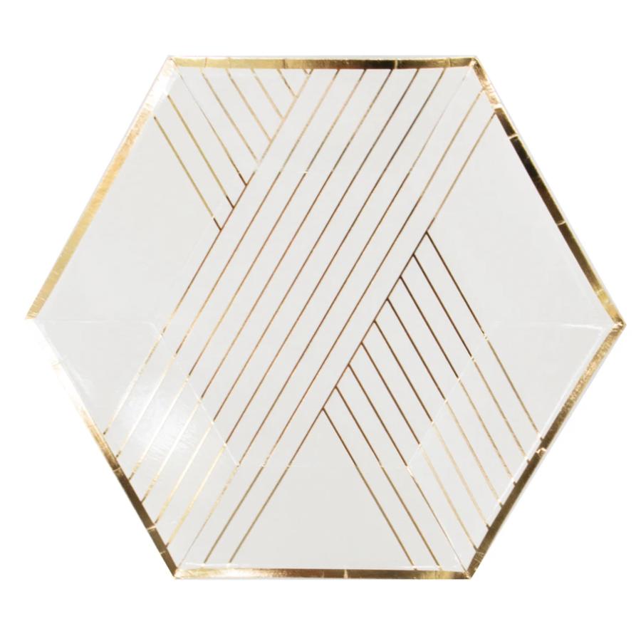 Blanc - White Striped Small Paper Plates